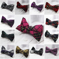 MENS PRE-TIED COTTON TARTEN BOW TIE MEN'S BOWTIE WEDDING TUXEDO FORMAL TIES