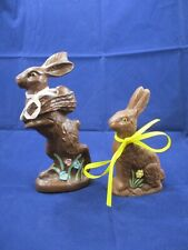 """Lot of 2 - Vintage - Resin - Faux Chocolate - Easter Bunny - 8½"""" & 6½"""" Tall"""