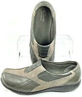 Clarks Bendables Bingo Loafer Women 9.5 W Gray Leather Nubuck Slip On Shoe 83494