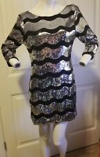 Fredericks Of Hollywood Wavy Sequin Dress Large L black silver lined