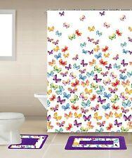 Butterfly Multicolor Bathroom Accessory Set Shower Curtain Toilet Bath Mat Hooks