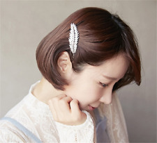 Vintage Girls Women Silver Leaf Feather Hair Barrette Clip Hairpin Bobby Pins ~�