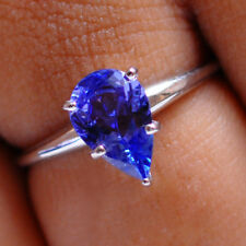 Natural Blue Tanzanite 925 Sterling Silver 1.40Ct Pear Shape Solitaire Ring