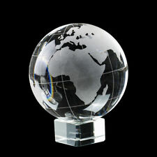Glass Clear World Earth Globe Etched K9 Crystal World on Stand 100mm Paperweight