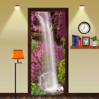 3D Purple Flowers Waterfall Self-adhesive Living Room Door Murals Wall Stickers