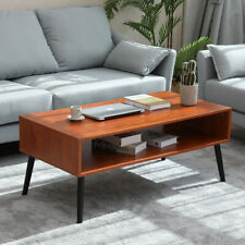 2 Tier Modern Coffee Table w/ Storage End Side Sofa Table Heavy Duty Metal Frame
