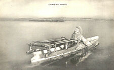 Vintage Postcard - Eskimo Seal Hunter, rowing with his sled in canoe