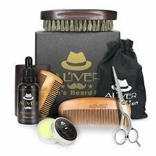 6pcs Men's Gent's Beard Grooming Kit Gift Set Shampoo Oil Balm Wooden Brush Comb