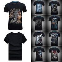 Rock Gothic 3D Skull Print Punk T-shirt Casual Short Sleeve Workout Tee Mens Top