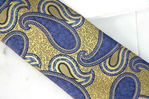 ZEGNA PAISLEY TIE - YELLOW - NEW IN PLASTIC  - FREE BOXED SHIP