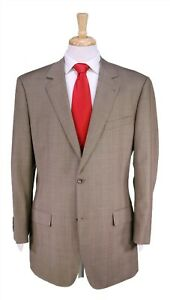 Custom Made! Recent Light Brown Plaid 2-Btn Wool Athletic Fit Suit 42R