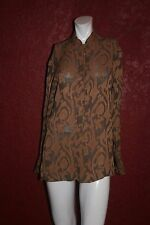 ANN TAYLOR BROWN MULTI COLOR LONG SLEEVE BUTTON DOWN TOP SIZE S