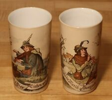 Mettlach Violinist & Piper 1/4L Beakers - German Antique - #s 2327 / 1023 + 1024