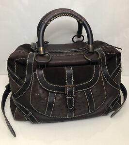 Carolina Herrera Women bag Brown Suede Leather Large Tote Handbag
