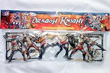 4 Dragon Knights & Battle Horse, Painted Action Plastic Figures, 90-100 mm, New