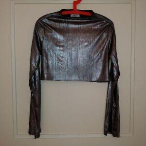 CHEAP MONDAY silver metallic cropped top,semi-stretch,turtle neck,XS/S,6-8UK