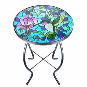 Mosaic Patio Side Table Outdoor Accent Bistro Coffee Deck Backyard Lawn Pool