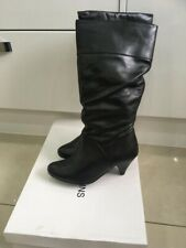 Dorothy Perkins Black Leather Knee Boot Size 5