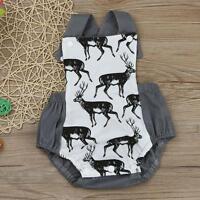 Newborn Infants Baby Boys Girls Elk Romper Jumpsuit Sunsuit Kids Clothes Outfits