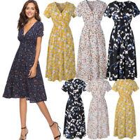 Women Summer Sundress Tunic V Neck Short Sleeve Boho Floral Midi Chiffon Dress