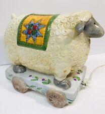 Nantucket Porcelain Ceramic Sheep Figurine On Cart