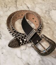 Guess Women's L Bling Belt Black Leather Studs & Stones Silver Clasp and accents