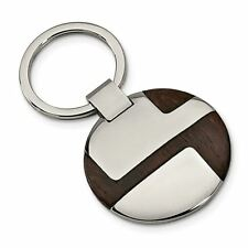 Engravable Key Chain Msrp $105 Stainless Steel Polished Wood Inlay