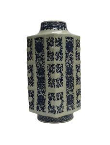 Chinese Blue & White Porcelain Column Shape Vase cs1071