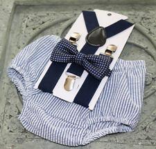 1st Birthday boy cake smash diaper cover bow tie boy clothes Navy stripe polka