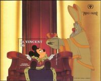St Vincent 1991 Disney/ILY/Prince/Pauper/Owl/Films/Cinema/Cartoons 1v m/s b3123b