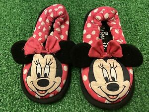 Disney's Minnie Mouse Little Girls Slippers Size Small (5-6) Pink Polka Dots