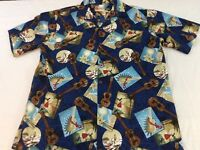 Hilo Hattie Mens 2XL XXL Dark Blue Ukelele Surfers Hawaiian Shirt EUC