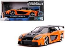 Han's Mazda RX-7 Orange and Black Fast & Furious Movie 1/24 Diecast Model Car by