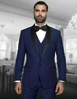 Men Navy Blue Slim Fit Suit 3 Piece Work Office Casual or Wedding Party Suits