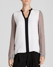NWT ELIE TAHARI WOMAN'S FRESH PEARL LAYNE BLOUSE $268.00 NEW LARGE