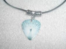 White Peacock Bird Tail Feathers Guitar Pick Necklace OR Belly Ring Jewelry