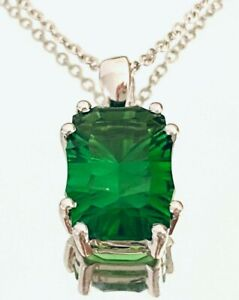 P4555 3ct Forest Green Helenite Emerald Cut Contemporary Sterling Silver Pendant