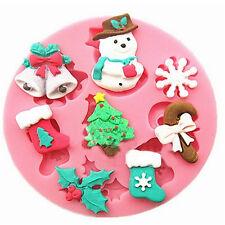 Noël moule 8 cavités santa bonhomme de neige stocking flocon de neige cloches candy cane