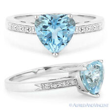 14k White Gold Heart Right Hand Round Diamond Ring