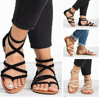 Women Gladiator Sandals Thong T Strap Flip Flops Flat Summer Beach Strappy Shoes