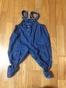 Vtg 90s Oshkosh 3-6M Denim Jean Footed Overalls 100% cotton Blue Infant