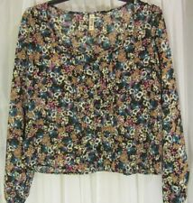 Womens' Mudd Black Floral Scoop- Button Front Crop Top Size Med.