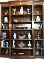 1 Large Regency Sheraton Style Inlaid Mahogany Open Breakfront Office Bookcase