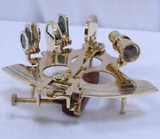 Marine Sextant, Großer Spiegel Sextant aus Messing mit silberner Winkelskala