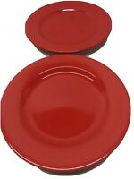 Lot of 2 Dinner Plates Solid Red  WAECHTERSBACH Germany Christmas Christmas Love