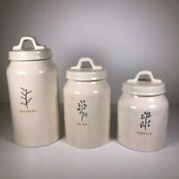 SET of 3 Rae Dunn By Magenta White Ceramic Canister Set Rosemary Thyme Parsley