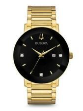 Bulova 97D116 Men's Black Diamond Dial Gold Tone Stainless Steel 42mm Watch