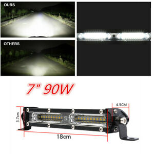 "7"" 90W Flood Beam Combo Waterproof LED Work Light Bar For Car &Truck 12V 24V"
