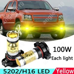 2x Yellow 5202 200W LED Fog Light Upgrade Bulb For Chevrolet Avalanche 2007-2012