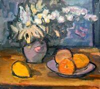 painting art Evdushenko lemon peach vintage still life old impressionism decor